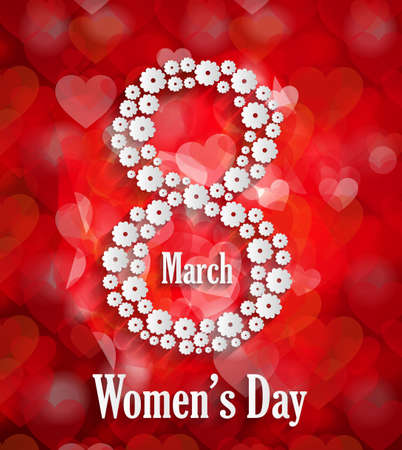 wallpaper International Women s Day: 8 March Womans Day poster with bokeh background. Hình minh hoạ
