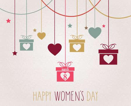 rosas rojas: Cartel del D�a de la Mujer. Colgando de regalo de colores.