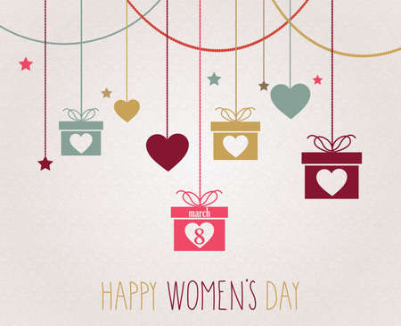 pink roses: Women Day poster. Hanging colorful gift.