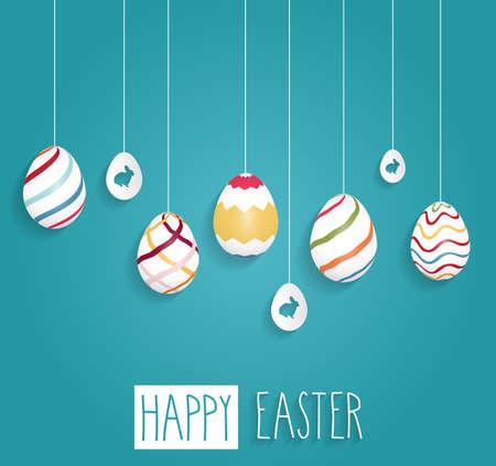 부활절 포스터입니다. 손으로 쓴 텍스트와 파란색 배경에 계란 매달려.