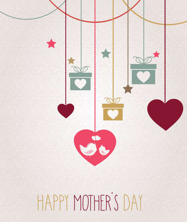 greeting cards International Women s Day: Happy Mothers Day card. Hanging colorful hearts with birds