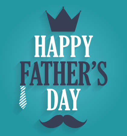 s tie: Fathers Day poster. Blue background. Vector illustration.