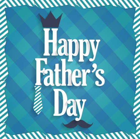 king s: Fathers Day blue poster. Cloth background.
