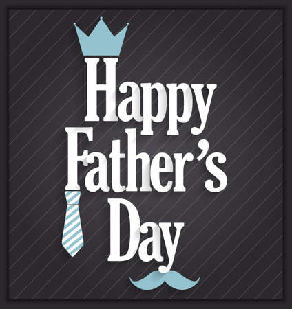 s tie: Fathers Day poster on black background. Vector illustration. Illustration