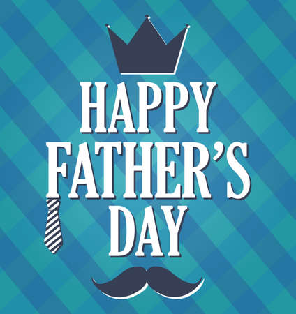 king s: Fathers Day retro blue card. Cloth background.