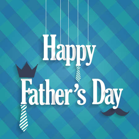 s tie: Fathers Day blue poster with hanging text. Cloth background. Vector illustration. Illustration
