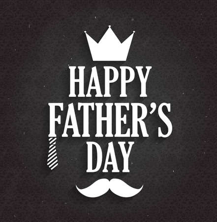 s tie: Fathers Day poster on black chalkboard. Vector illustration.