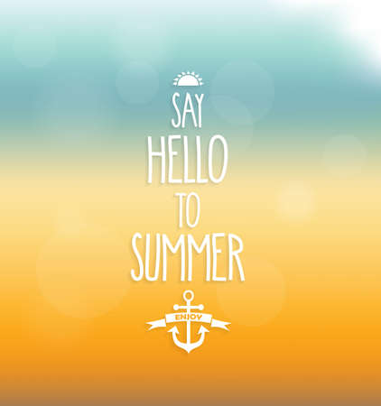 say: Say hello to summer poster. Handwritten text. Vector illustration.