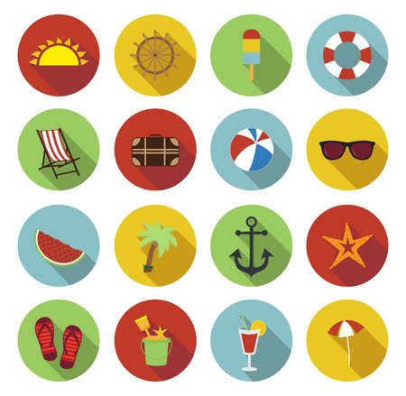 sandal tree: Summer icons. Flat design with long shadow. Colorful summer icons. Vector illustration. Illustration