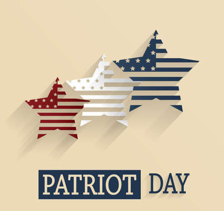 world trade center: Patriot Day. Red, white and blue stars. Vector illustration.