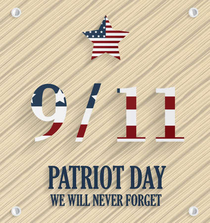 world trade center: 911 Patriot Day poster. Wooden background. USA flag on numbers. Vector illustration.