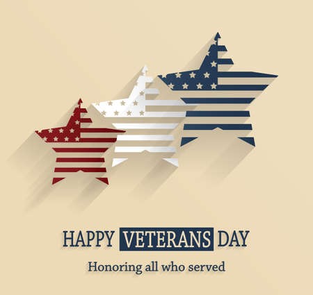 honoring: Happy Veterans Day poster. Honoring all who served . Vector illustration.