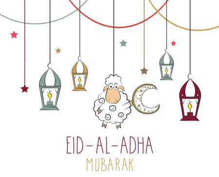 colorful lantern: Eid Al Adha mubarak poster. Hanging colorful lantern and sheep with moon. illustration.