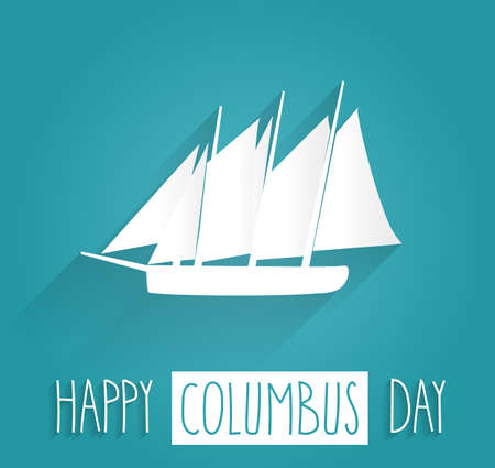 Columbus Day blue poster.  text with ship. illustration