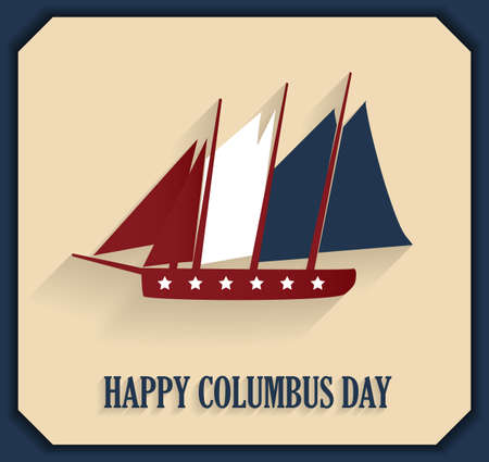 christopher: Columbus Day poster with sailing ship. illustration.