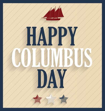 columbus: Columbus Day retro poster with ship. illustration. Illustration