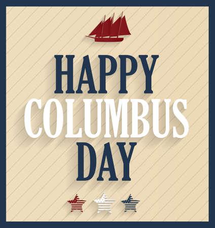 Columbus Day retro poster with ship. illustration. Illustration