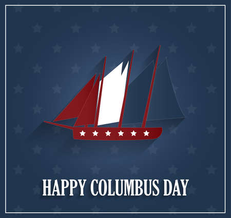 christopher: Columbus Day poster with ship on blue background. Vector illustration. Illustration
