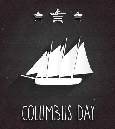 christopher: Columbus Day poster on black chalkboard. Handwritten text with ship. Vector illustration. Illustration