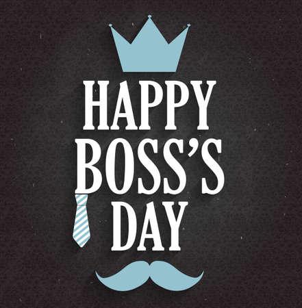 Boss Day poster on black chalkboard. Vector illustration. Illustration