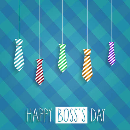 s tie: Boss Day retro poster on cloth back. Hanging ties. Handwritten text. Vector illustration.
