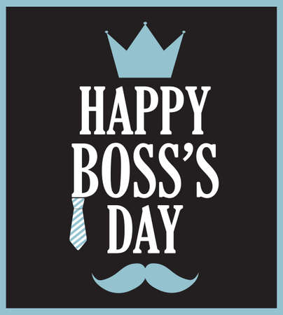 s tie: Boss Day poster on black background. Vector illustration.