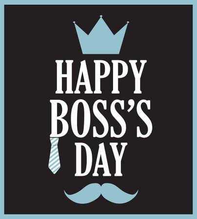 king s: Boss Day poster on black background. Vector illustration.