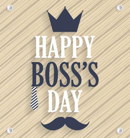 Boss Day wooden poster. Vector illustration. Illustration