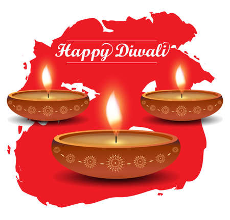 dipawali: Diwali poster on red watercolor. Vector illustration.