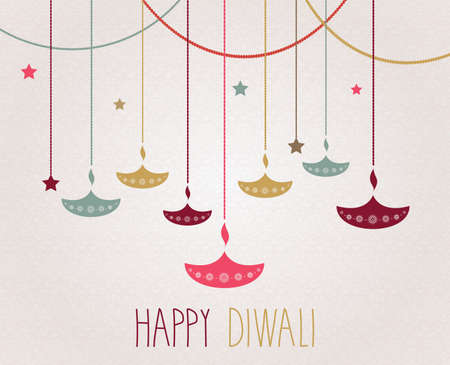 Diwali. Hanging colorful diya. Handwritten text. Vector illustration. Illustration