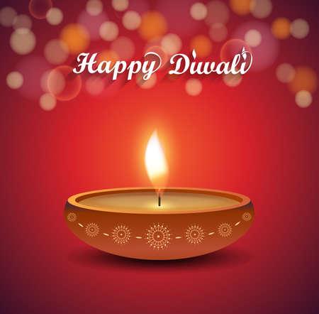 diya: Diwali poster on red background with burning diya. Vector illustration.