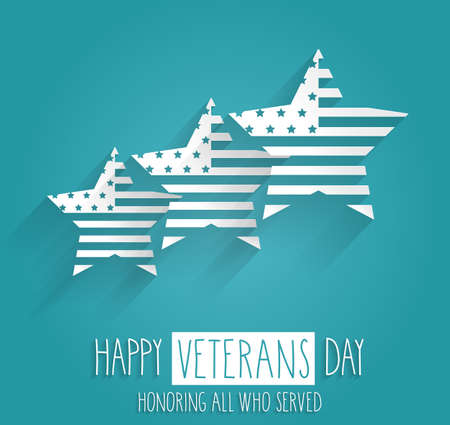 honoring: Veterans Day poster. Blue background with handwritten text. Honoring all who served. Vector illustration.