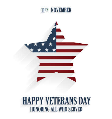 honoring: Happy Veterans day poster on white background. Honoring all who served. Vector illustration. Illustration