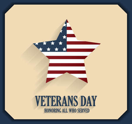 honoring: Veterans Day poster with star. Honoring all who served. Vector illustration.