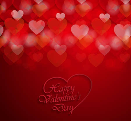Happy Valentines Day poster on red background. Vector illustration. Illustration