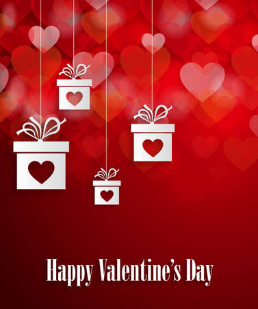 Valentines day greeting card with hanging gifts and hearts. Vector illustration.