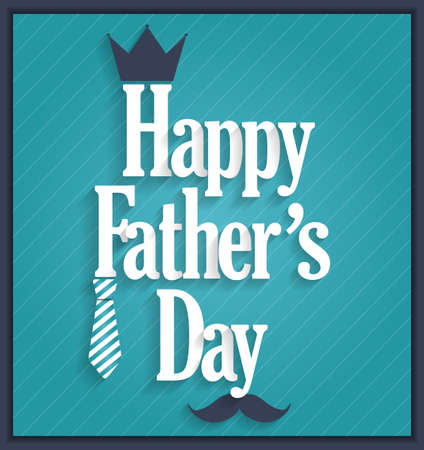 king s: Fathers Day retro blue poster. Blue striped background. Vector illustration.