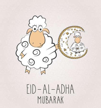 Eid Al Adha mubarak. Two sheeps with moon. Vector illustration.
