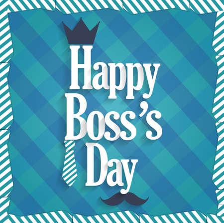 king s: Boss Day blue poster. Cloth background. Vector illustration Illustration