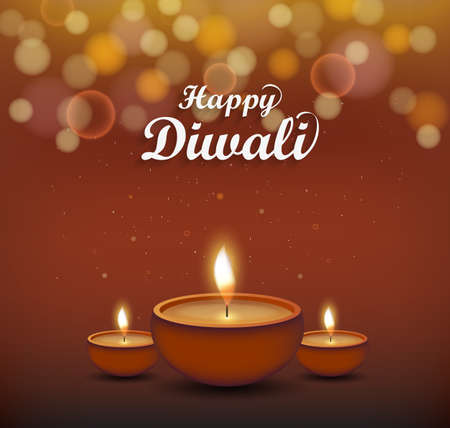 Diwali poster. Burning diya. Hindu festival. Vector illustration.