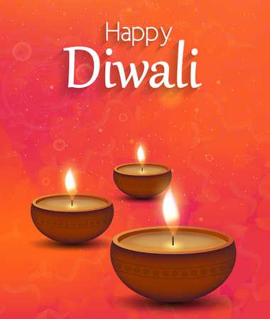 Diwali illustration poster with burning diya. Festival of lights. Vector illustration.