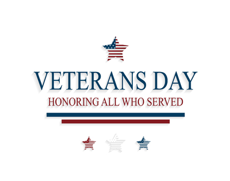 Veterans Day greeting card with stars on white background. Honoring all who served. Vector illustration.