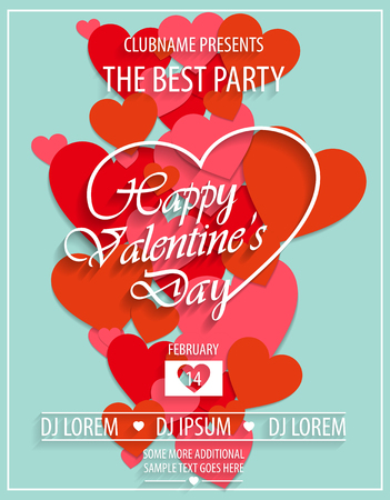 Valentines Day red party flyer invitation template with red hearts. Vector illustration. Illustration