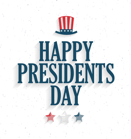Presidents Day poster with hat and stars on white background. Vector illustration. Illustration