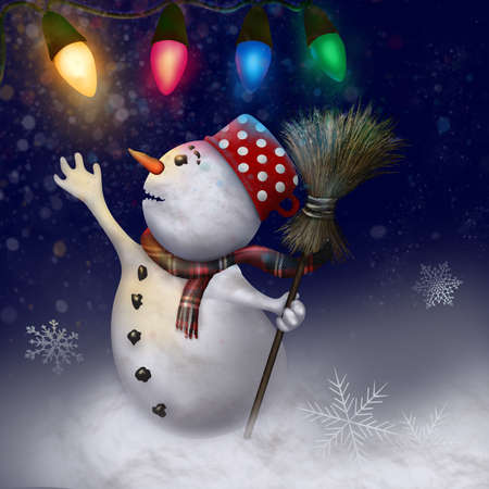 cheerfully: Snowman cheerfully observes New Year lanterns and gently falling flakes of snow. Stock Photo