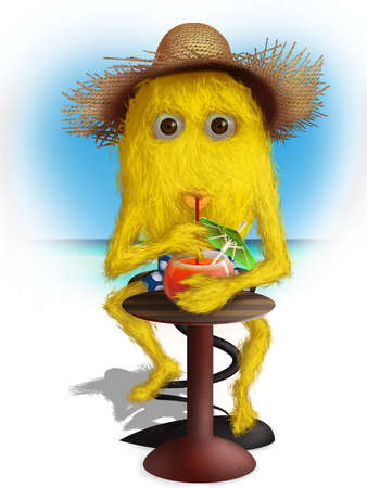 Our little yellow furry creature is in summer mood. All is here, straw hat, fresh summer cocktail, high spirits. Stock Photo