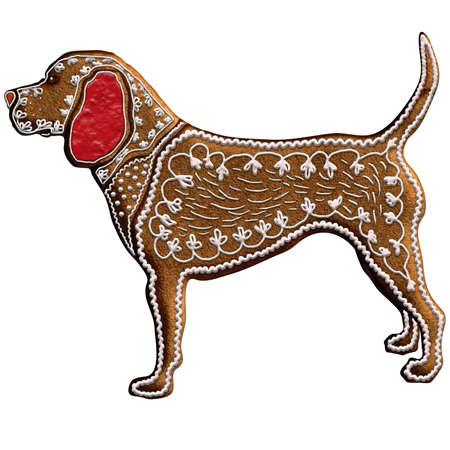 중국어 조디악 진저 개 - 중국 조디악에서 11 동물로 순위, 개는 충성도와 정직의 상징이다. 우리는 크리스마스 진저 브레드에 있습니다. 스톡 콘텐츠 - 70301979