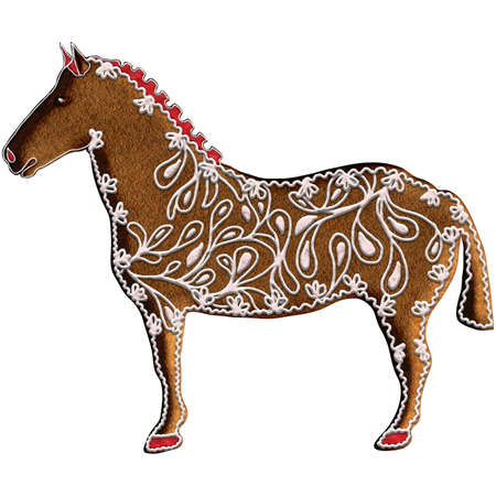 Chinese Zodiac Gingerbread Horse - Horse has an indomitable spirit and is always moving toward a goal. It ranks the seventh in the Chinese Zodiac. Our is on Christmas gingerbread. Stock Photo