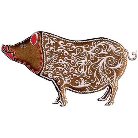 Chinese Zodiac Gingerbread Pig - On last position in 12 Chinese Zodiac animals, Pig is mild and a lucky animal representing carefree fun, good fortune and wealth. Our is on Christmas gingerbread.