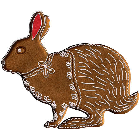 Chinese Zodiac Gingerbread Rabbit - Rabbit represents longevity, discretion and good luck. It has the fourth position in the Chinese Zodiac. Our is on Christmas gingerbread.